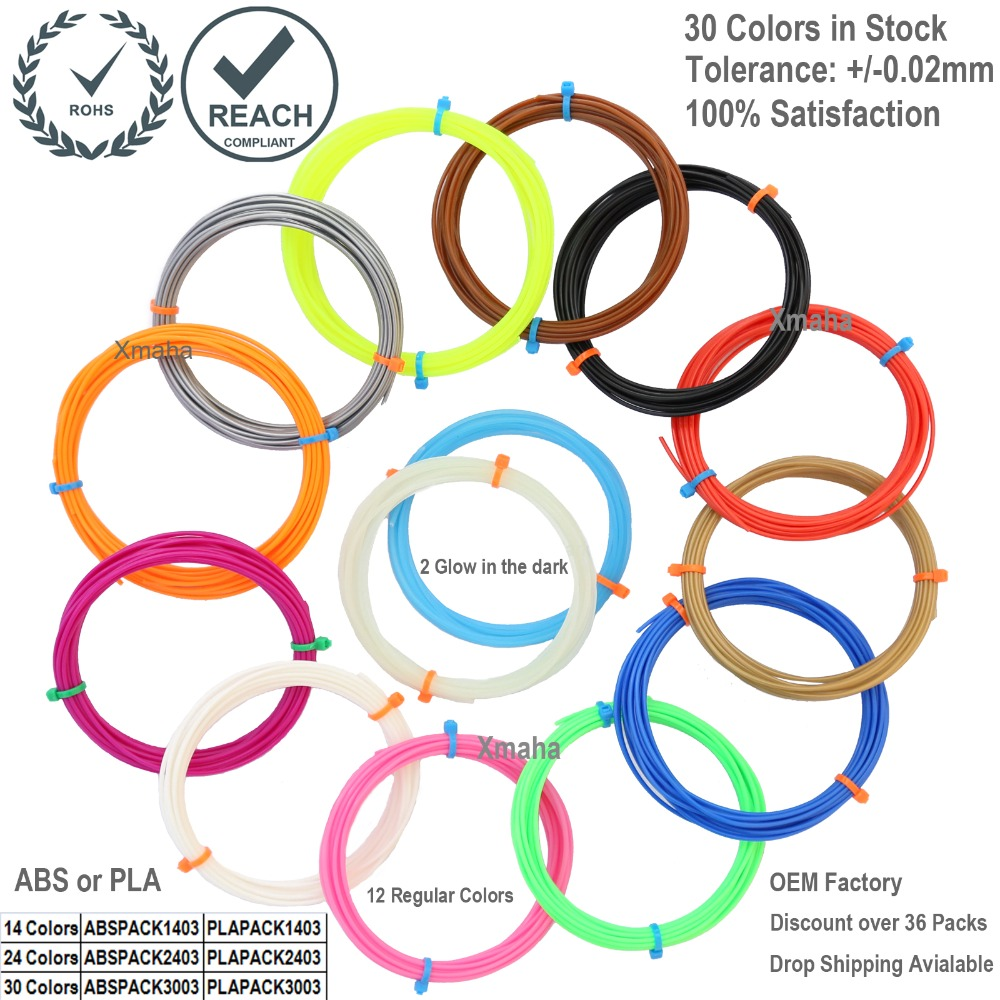 3d pen filament pack in 14 colors including 2 Glow in the Dark - 1.75mm PLA filament refill in rolls- 280 Linear Feet total