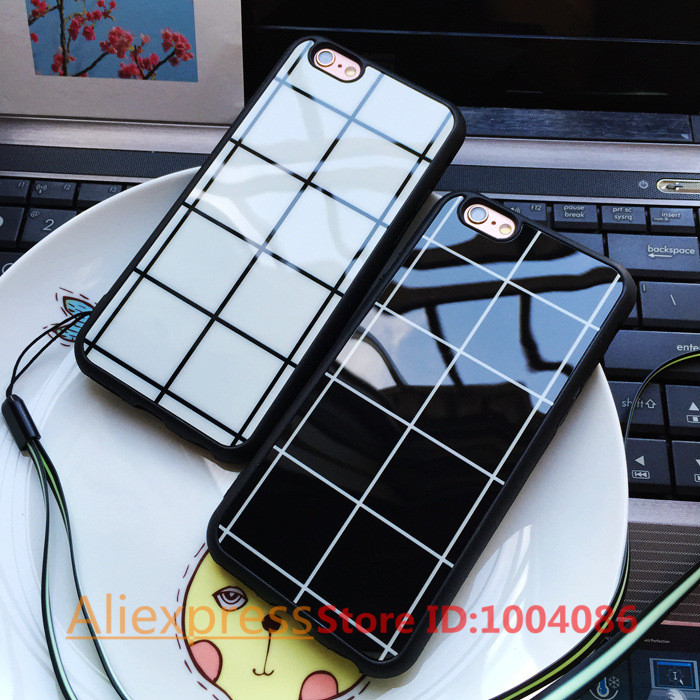 Fashion simple Grid case for iphone 5/5s SE 6 6s plus black white square back soft cover TPU silicon for iphone 5s 6 6s cases(China (Mainland))
