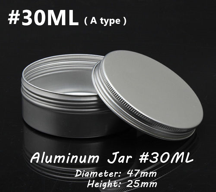 50Pcs 30ML Silver Color Aluminum Container Skin Care Cream Jar With Screw Lid, 47x25mm