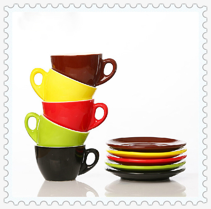 Fashion Coffee Cup Set Ceramic Lovers Coffee Cup and Saucer Free Shipping