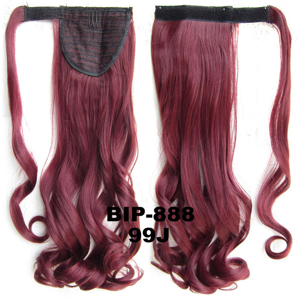 Fashion Style Synthetic Wrap Around Invisible Long wavy Ponytail Extension Clip In on Hair Pony Tail Color 99J# 22, 90g,1pc<br><br>Aliexpress