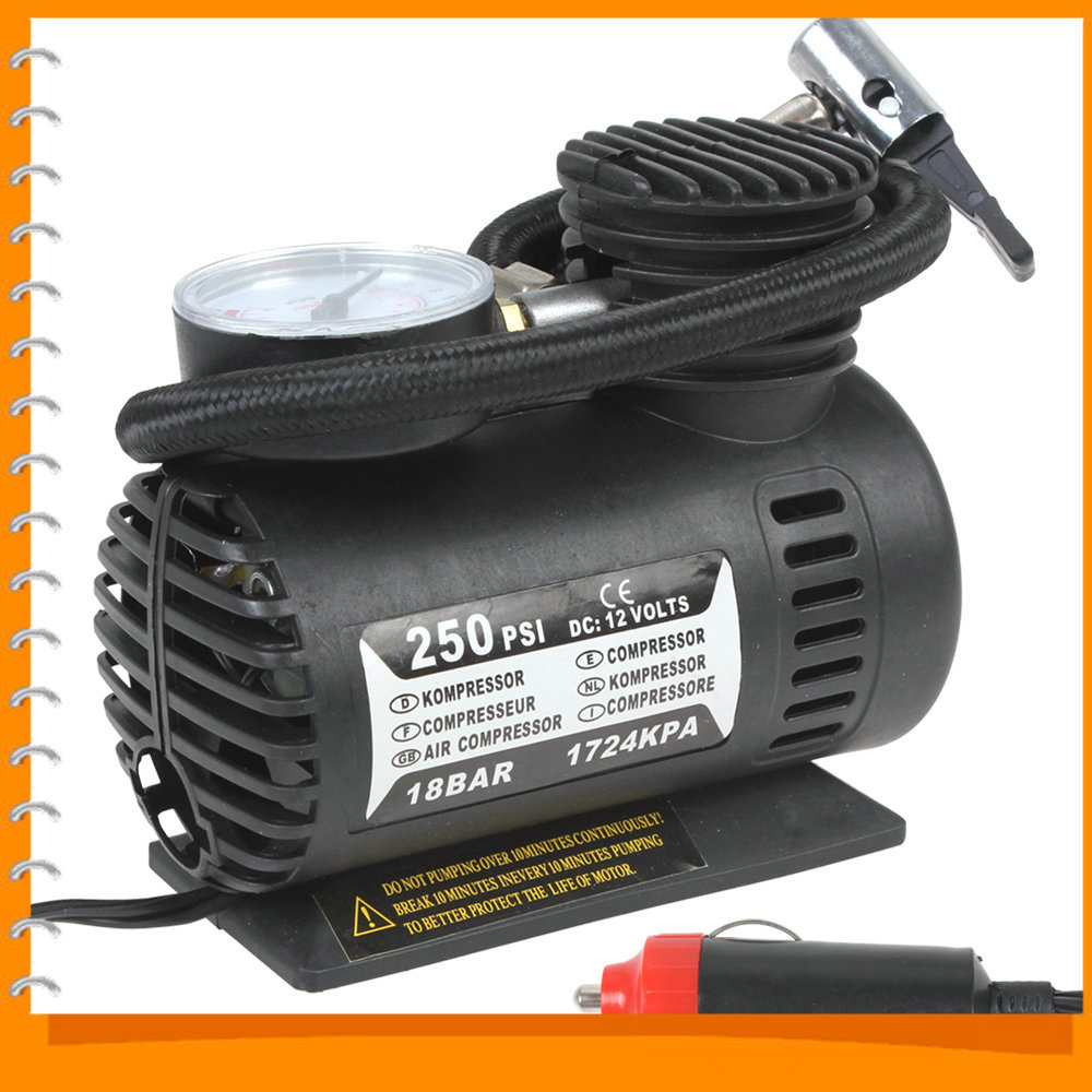 [SALE] 250PSI 12V Electric Car Tire Tyre Inflator Pump Portable Auto Car Pump Air Compressor with 3 Pneumatic Nozzle(China (Mainland))