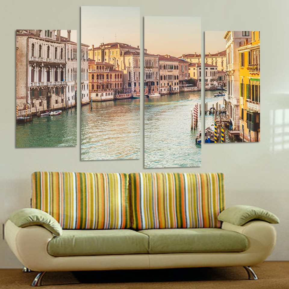 4Pcs(No Frame) Modern Warm River Boat Building Landscape Canvas Art Picture Wall Picture Painting Decorative PaintingsSQ269(China (Mainland))