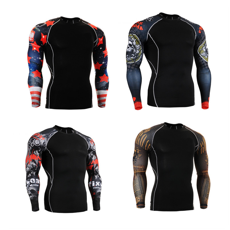 SuperDeals CPD Mens Fashion Workout Fitness MMA GYM Compression Base Layer Long Sleeve Sports Body building Tops Shirts S-4XL<br><br>Aliexpress