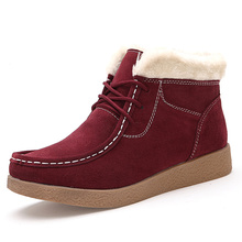 Buy Winter Genuine Leather WoMen Snow Boots Warm Plush New High Top Suede Leather Women Cotton-Padded Shoes Plus Size 61 for $47.50 in AliExpress store