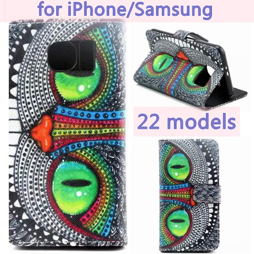 S3 S4 S5 S6 Alice in Wonderland Cheshire Cat PU Leather Case For for iPhone 5 5s SE 4 4s 5c 6 Plus 6S Folio Case Standing Cover