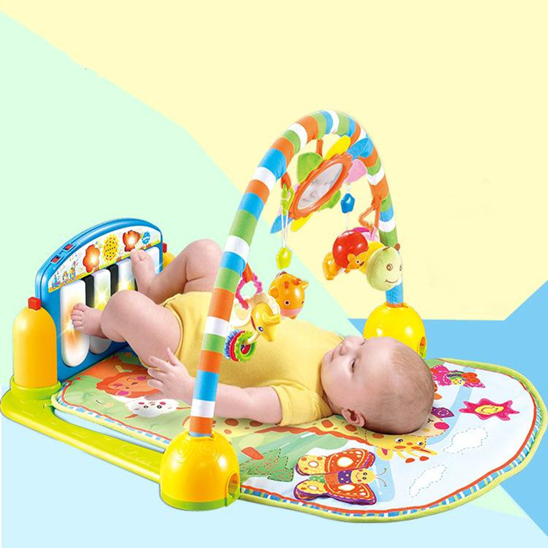 Infant Cartoon Cradle font b Toys b font Baby Gilrs Boys Fitness Frame Multifunction Foot Piano