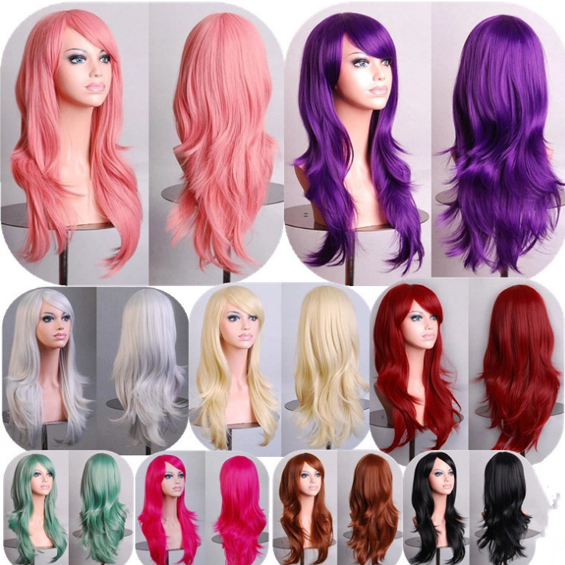 Red Black Pink Purple Blue Yellow Long Hair Wigs Women Cos Synthetic Full Wigs Lolita Cosplay Party Wigs FreeShipping<br><br>Aliexpress