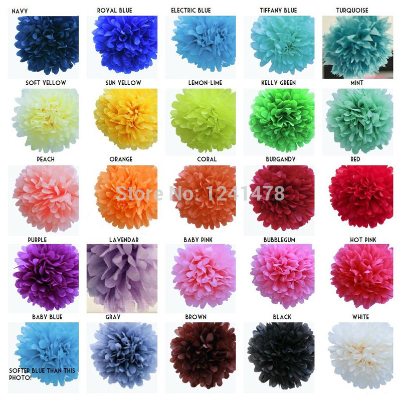 """24 Colors as chart !! Pink paper pom poms garlands party decorations 6""""(15cm) 16pcs/lot Brown tissue paper flower wedding(China (Mainland))"""