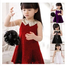 2015 children's clothing children princess dress girls short sleeve lace dress sequined lace collar sequined dress free shipping