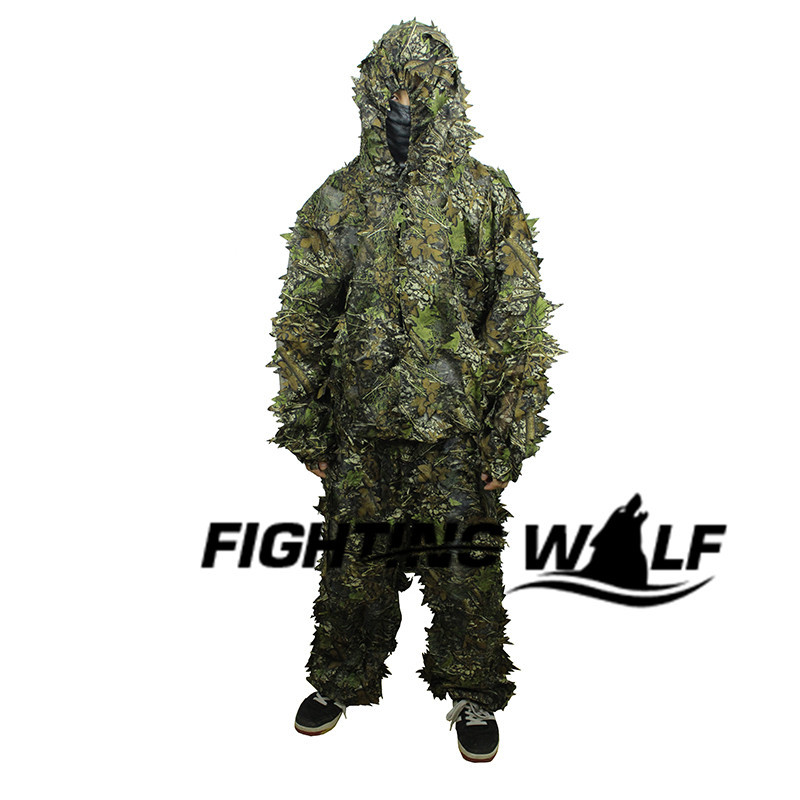 3D Leaf Tactical Camouflage Camo Sniper Ghillie Suit Paintball Airsoft Military CS War Game Shooting Hunting Uniform - Fighting Wolf store