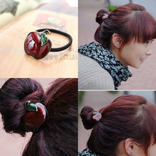 New Fashion Retro Personality Apple Flower Hair Accessories Hair Ring Hair Rope Hairband Lady Jewelry