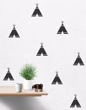 Cartoon Teepee Wall Decals, Removable Teepee Wall Stickers Kids Room Decor Free Shipping 40 pcs per lot(China (Mainland))