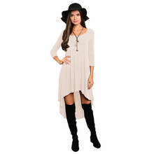 Midi Woman Dresses Full Sleeve 2017 O-Nece Sexy Solid Clothing European Style Casual Summer Clothes Office Vestidos De Festa(China)