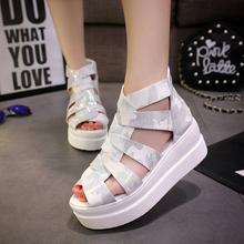 2016 Summer Vintage Women Sandals Thick Bottom Sandals Flat Heel Women Shoes Hollow Out Zipper Sandals Fashion Platform Shoes