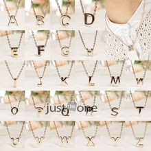 Letter name Initial chain Pendant Fashion Necklace A-M Gold plate HOT(China (Mainland))
