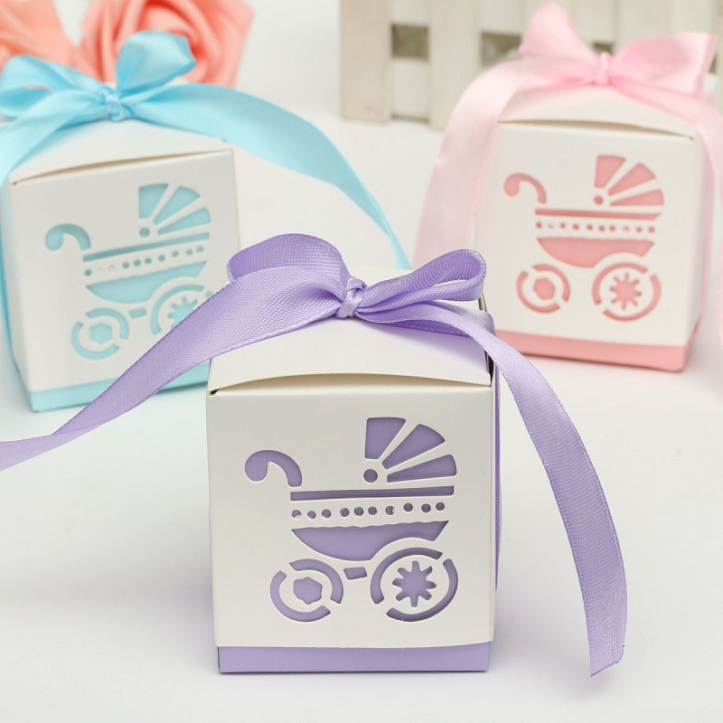 New 10Pcs Party Gift Laser Cut Baby Shower Candy Ribbon Boxes Carriage Shower Favor Bomboniere Wedding Anniversary(China (Mainland))