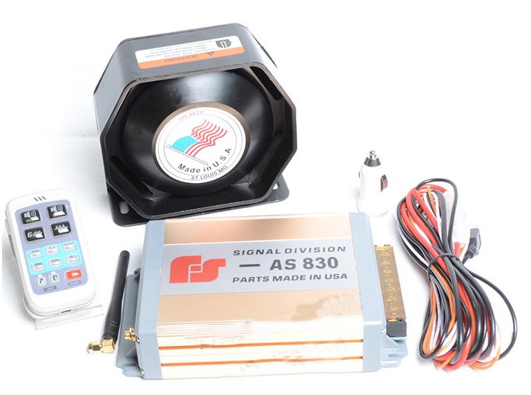 Фотография Gold AS830 200W Car Alarm Siren 11 Tone Loudspeaker Horn Electronic Horn Siren Wireless Remote Control Police Megaphone Buzzer