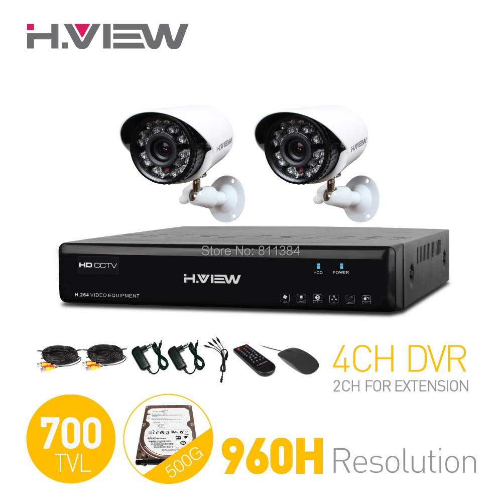 H.View 4CH CCTV System 4 Channel HDMI 960H CCTV DVR 500G HDD 2PCS 700TVL IR Security Camera Home Security System Kits(China (Mainland))