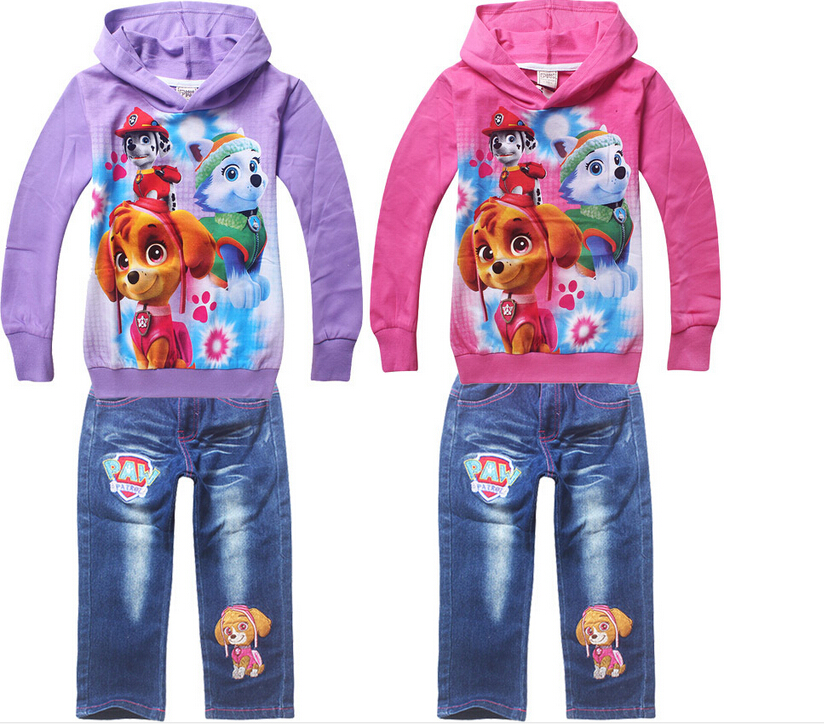 PAWA PATROL2016 girl Clothing children Girls suit cartoon childrens clothes Long sleeve coat + jeans Clothing Sets<br><br>Aliexpress