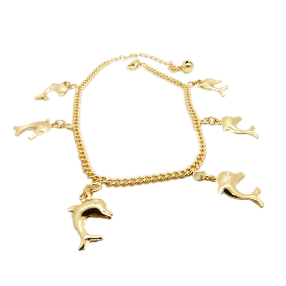 Anklet Chain With Anmail  Solid Yellow Gold Filled Womens Chain Link