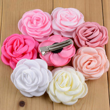 "Various Colors Baby Girls Hair Clips 2"" Satin Rose Flower Hairclip Children Flower Hairpins Cute Headwear(China (Mainland))"