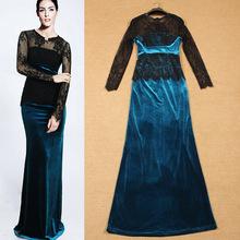 2015 Autumn New Fashion Ruway European Ladies Sexy Long Sleeve Translucent Lace Net Spliced Velour Sheath Dresses(China (Mainland))