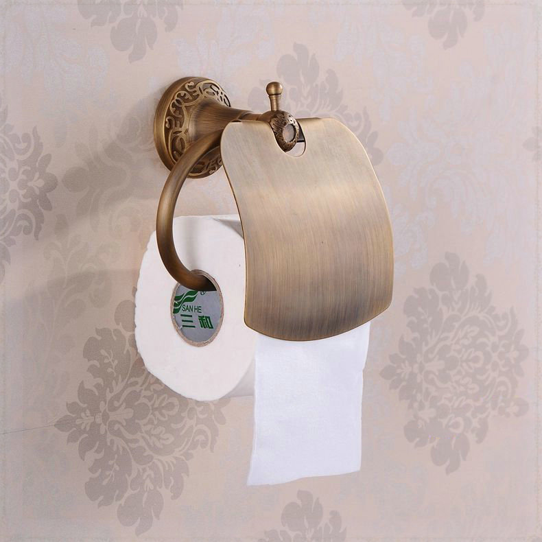 Wall mounted antique brass finish bathroom accessories Antique toilet roll holders
