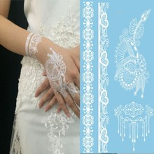 1Piece New Indian Arabic White Henna Tattoo Paste Lace Designs Wedding Bride Choker Tattoos Trendy Transferable Tatoo Sticker