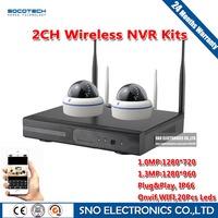 2016 SNO 2CH Plug and Play Wireless NVR Kit 2PCS HD 720P 960P Dome Security IP Camera CCTV Video Surveillance WIFI CCTV System