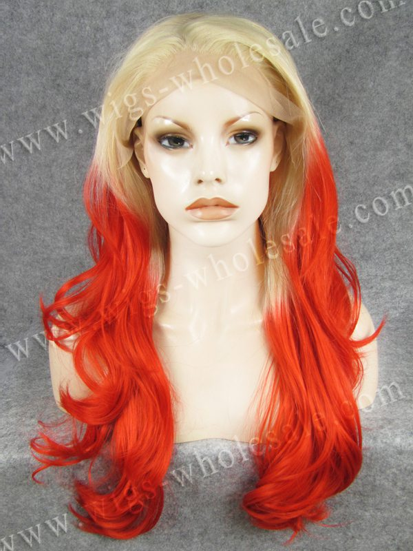 Discount Drag Queens Wig Long Wavy Cosplay Red Ombre Synthetic Lace Front Wig(China (Mainland))
