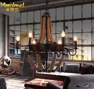 American Country home loft dining room pendant light vintage hemp rope iron living room light bar light free shipping(China (Mainland))