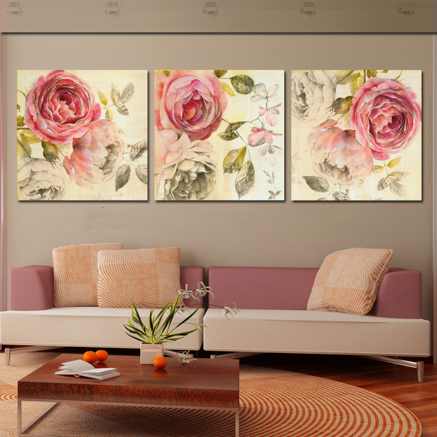 3 piece wall art painting classic flower rose canvas for Modern home decor pieces