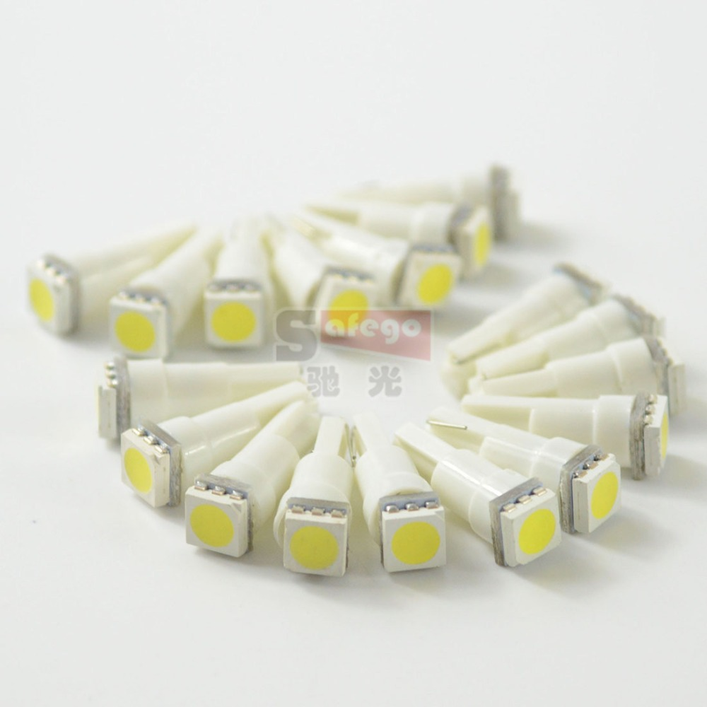 ON SALE! 50pcs mixed colors T5 5050 1 SMD t5 Led bulb Wedge Base for Dashboards bulbs t5 led smd car reading lights(China (Mainland))