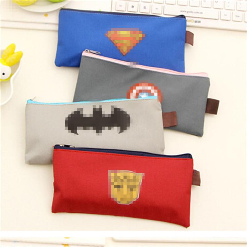 Super Hero series Cloth Pencil bag Hot Selling Cartoon Super Hero Students Mini Superhero Pencil Case office school supplies 2.4(China (Mainland))