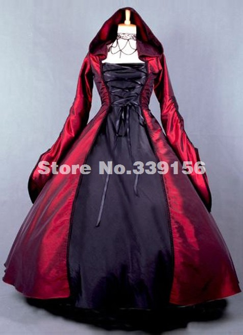 Elegant Wine Red Tafetta Civil War Gothic Victorian Ball Gown With Hat Medieval Period Dress Theatre Reenactment Clothing(China (Mainland))