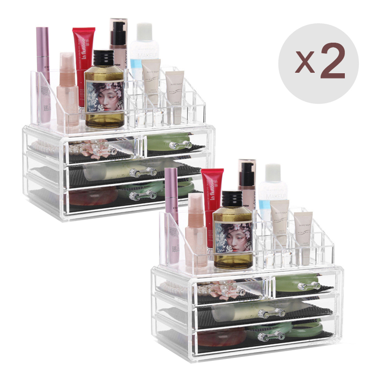 US Shipping 2pc Acrylic Drawer Jewelry Cosmetic Organizer Storage Box For Makeup Display Rangement Maquill Color Clear moa0009(China (Mainland))
