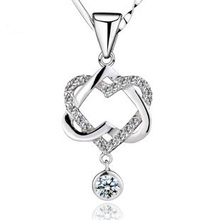 MDEAN Necklace Pendant white gold filled heart pendant necklaces engagement vintage accessories wedding jewelry JYA028