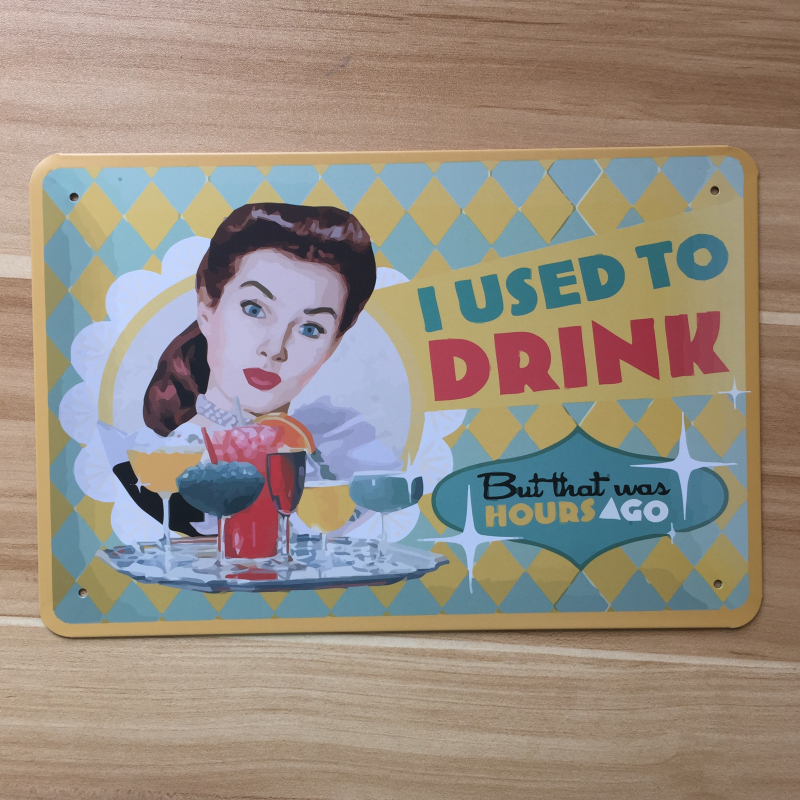 Retro Keuken Kopen : Metal Vintage Sign Drinks