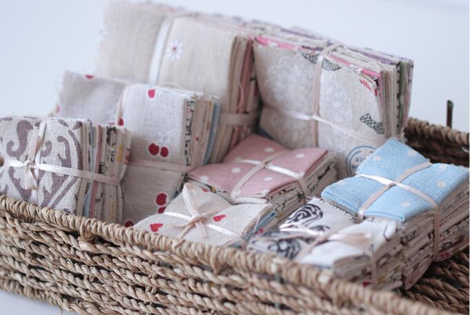 Neadend cloth fabric handmade diy patchwork cloth print cotton linen fabric 80pcs/lot 25*25cm(China (Mainland))