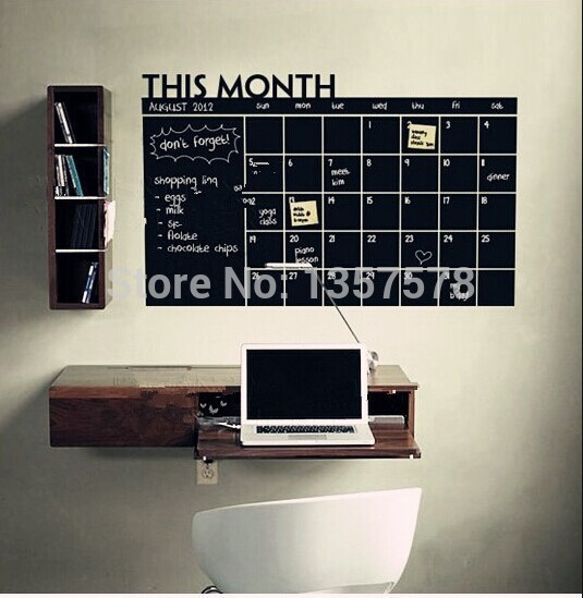 * Diy Monthly chalkboard calendar Vinyl Wall Decal Removable Planner mural wallpaper vinyl Wall Stickers 64*100CM office decor(China (Mainland))