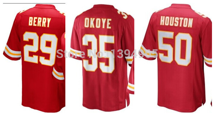 2014 NEW HOT! Men's #29 Eric Berry Jersey in American Football #35 Christian Okoye #50 Justin Houston RedWhite Mix Order(China (Mainland))