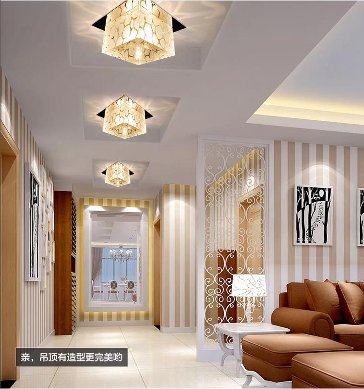 Modern embeded led crystal ceiling lights fixtures living room home