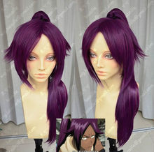 Wholesale& heat resistant LY free shipping>>>Shihouin Yoruichi 60cm Purple Lolita Cosplay Party Wig