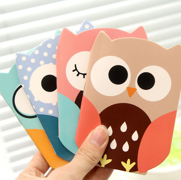 Wholesale 4Pcs/Lot Paper Cute Caderno Planner Novelty Owl Cartoon Animals Mini Notebook Pocket Gift Stationery K7576