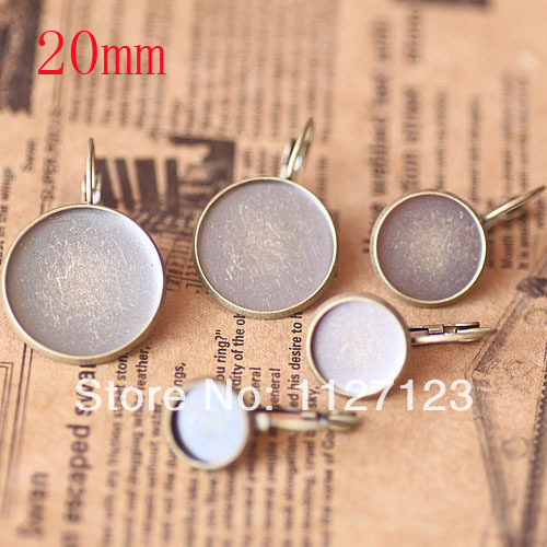 Free ship! Antique bronze 200piece 20mm Round Cabochon Setting Leverback Hook Stud Earing blanks and base trays bezel