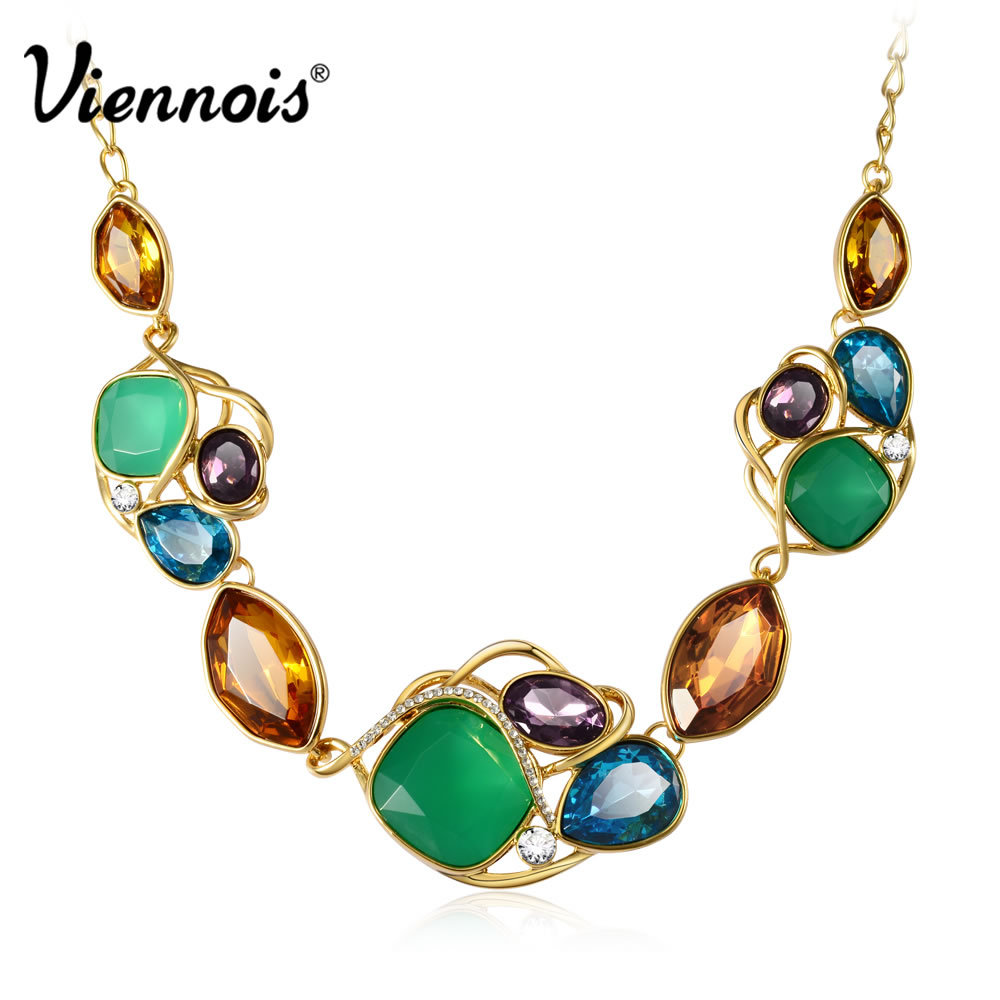 Viennois Brand Multi Color Blue/Purple Green Crystal Rhinestone Necklace & Pendant Chain new for women Summer accessories(China (Mainland))