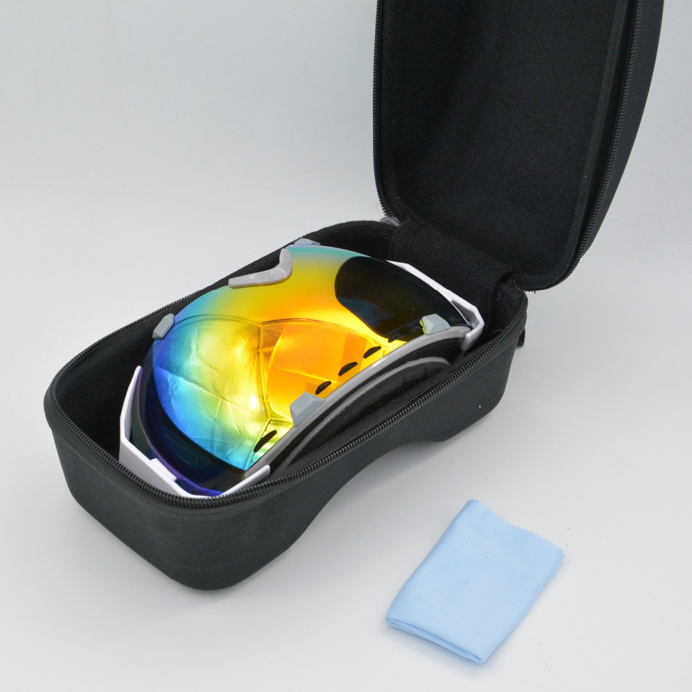 Free Shipping 2016 New fashion Men's Women's Double dual Layer Lens Anti Fog mask sport Snow Ski Skiing Googles case box 1006(China (Mainland))