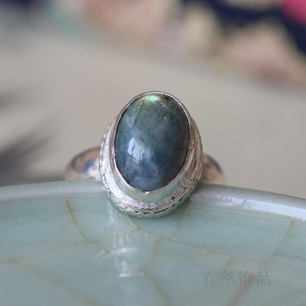 925 sterling silver hand-inlaid natural moonlight blue labradorite ring<br><br>Aliexpress