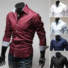 Free Shipping 2015 Fashion Menswear Camisa Masculina Long Sleeve Social Casual Dress Shirt Men Slim Fit Male Shirt M-XXXL B9004